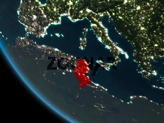 Tunisia at night from orbit
