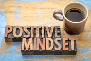 positive mindset - word abstract in wood type