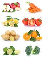 Obst und Gemüse Früchte Sammlung Äpfel, Orangen Tomaten Brokkoli Essen Freisteller