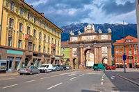 Triumphal arch and Maria Theresa street view in Innsbruck