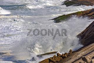 Waterspray over rocks