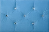 Blue soft velvet bed headboard with rhinestones