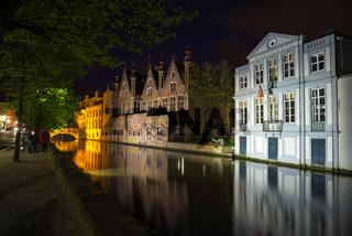 Night view of Bruges city, Belgium, traditional belgium architecture