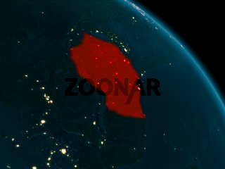 Night view of Tanzania on Earth