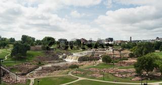 Water Flows Sioux Falls City Center Skyline South Dakota