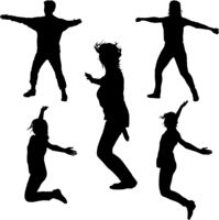 Silhouette of young people jumping with hands up, motion