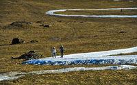 Skilangläufer trainieren auf Loipen aus Kunstschnee im Gras, Frankreich