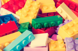 Colored toy bricks background