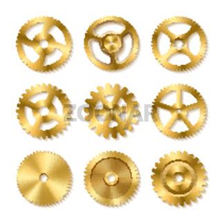 Set of realistic golden gears