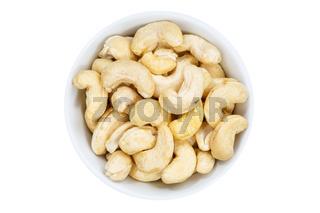 Cashews Cashewnüsse Nüsse Cashewkerne von oben isoliert freigestellt Freisteller