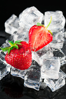 Fresh ripe strawberries with ice cubes