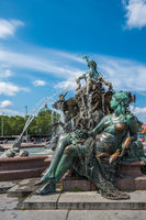 Neptunbrunnen or Neptune fountain at Alexanderplatz square, Berlin, Germany