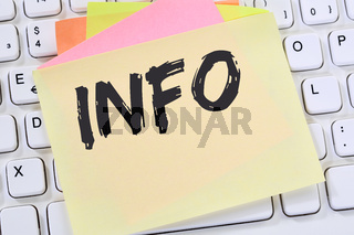 Info Infos Information Informationen News Nachrichten Notizzettel Business Konzept