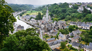 view of Dinan city from Jardin Anglais in rain