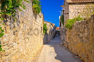 Old narrow stone street of Vis view