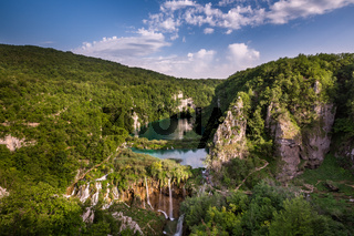 Aerial View on Waterfalls in Plitvice National Park, Donja Jezera, Croatia