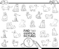 find two identical dog pictures color book