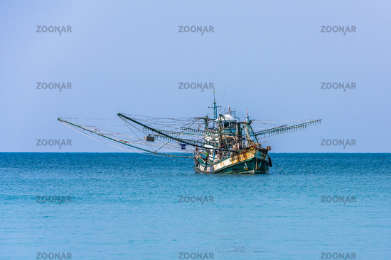 Traditional thai fishing boat, Koh Kood island, Thailand