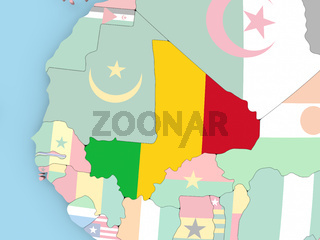 Map of Mali with flag on globe