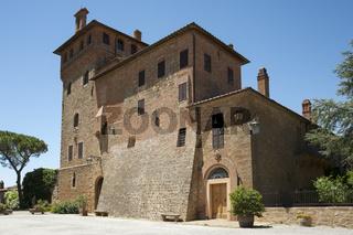 Italian palace Massaini, farm bulding near Montalcino, Tuscany, Italy