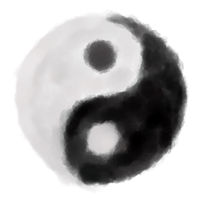 gemaltes yin yang symbol auf weißem hintergrund