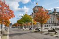 The Reichstag building, the german house of parliament, on a sunny autumn day in Berlin