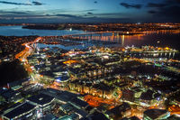 Auckland aerial night view, New Zealand