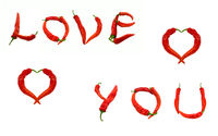 LOVE YOU text and two hearts composed of red chili peppers