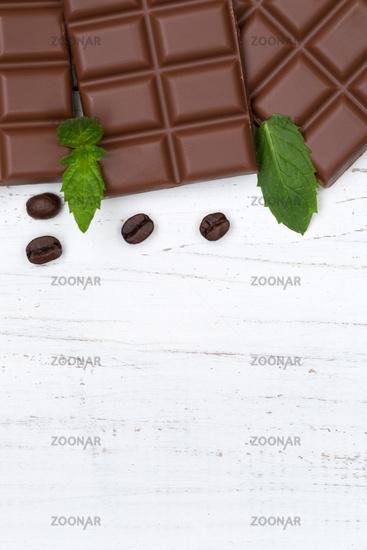 Schokolade Milchschokolade Tafel Essen hochkant Textfreiraum von oben
