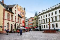 Schlossplatz square and pedestrian street Marktstrasse in Wiesba