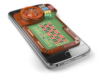 Mobile phone with roulette and casino chips  isolated on white background. Online casino concept.