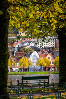 Bench by the lake in park in Bergen