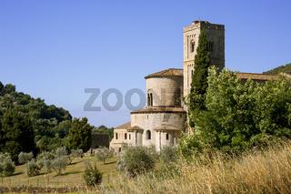 Abtei Sant'Antimo in der Nähe von Montalcino, Toskana, Italien
