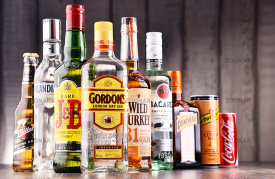 Bottles of assorted global hard liquor brands