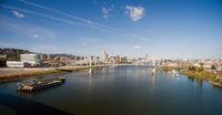 Panoramic View Portland Bridge Willamette River Barges
