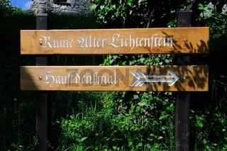 Hinweis Ruine Alter Lichtenstein - Hauffdenkmal Lichtenstein
