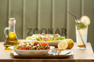 Plates of fresh salad