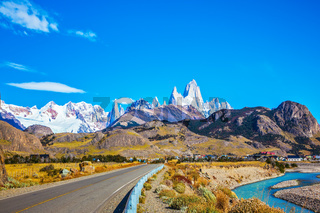 The sunny autumn day in Patagonia