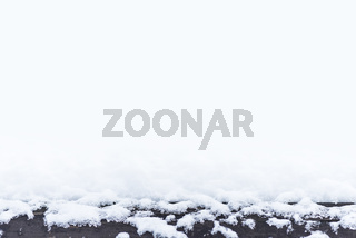 Snow on a wooden surface, design pattern with space, space for text, winter postcard