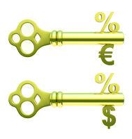 Golden keys with percent, euro and dollar symbols