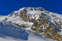 Der schneebedeckte Gipfel Alphubel,  Saas-Fee, Wallis, Schweiz