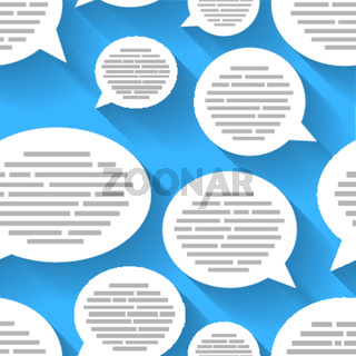 White speech bubbles with text on blue background, seamless pattern