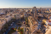 Panoramic View Over Historic Center of Valencia, Spain.
