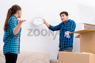 Young family relocating to new house apartment