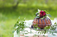 Chocolate cake decorated with flowers