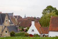 Traditional medieval red roofs architecture