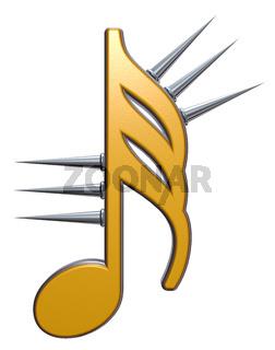 musiknote mit stacheln auf weißem hintergrund - 3d illustration