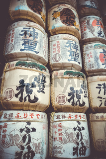 Kazaridaru barrels in Heian Jingu Shrine, Kyoto, Japan