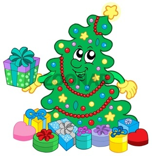 Happy Christmas tree with gifts - isolated illustration.