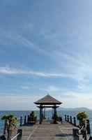 Wooden pavilion beside the ocean.